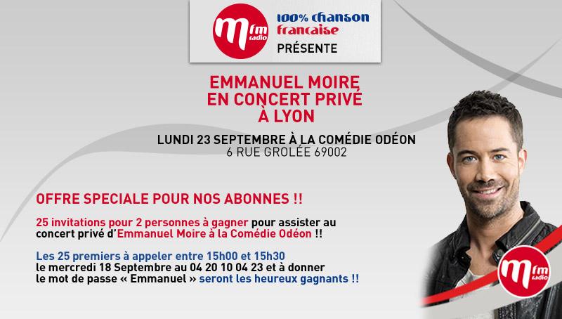 Emmanuel Moire en concert le 23 septembre au Comédie Odéon Moire